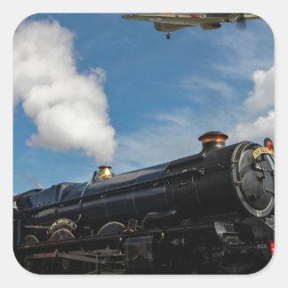 Pegatina Cuadrada Huracanes y tren del vapor