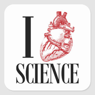 Pegatina Cuadrada I heart science