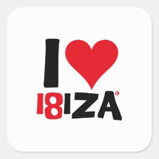 Pegatina Cuadrada I love Ibiza 18IZA Edición Especial 2018