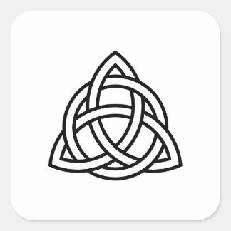 Pegatina Cuadrada Icono original del negro del nudo de Triquetra del