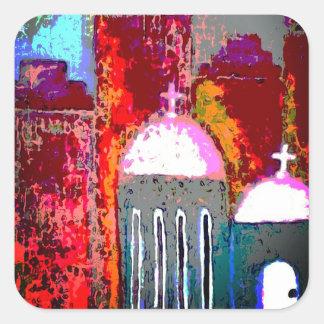Pegatina Cuadrada Iglesia rosada de la ciudad