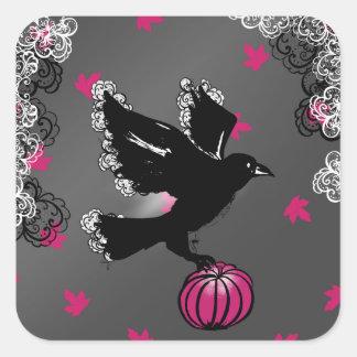 Pegatina Cuadrada ilustracion de Halloween de un cuervo y de una