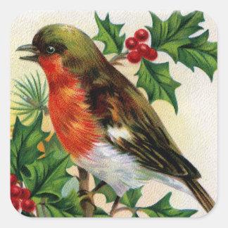 Pegatina Cuadrada Ilustracion del vintage del petirrojo del navidad