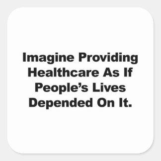 Pegatina Cuadrada Imagínese las vidas de la gente de la atención