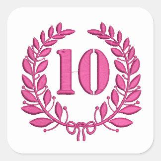 Pegatina Cuadrada imitación de 10 enhorabuena del bordado
