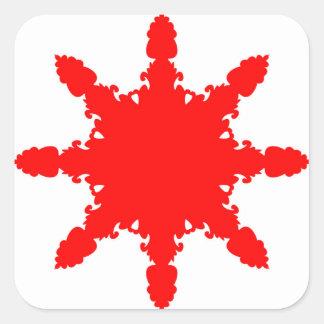 Pegatina Cuadrada Impresión circular roja