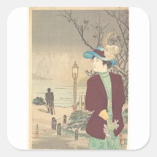 Pegatina Cuadrada Impresión policroma japonesa del woodblock