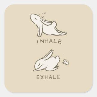 Pegatina Cuadrada Inhale and exhale bunny