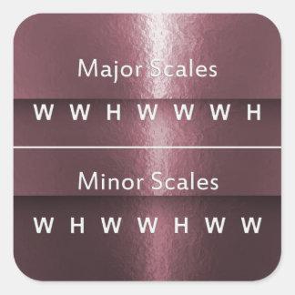 Pegatina Cuadrada Intervalos para las escalas de la música en brillo