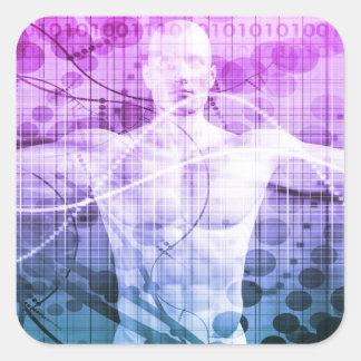Pegatina Cuadrada Investigación de la ciencia como concepto para la