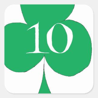 Pegatina Cuadrada Irlandés afortunado 10 de los clubs, fernandes