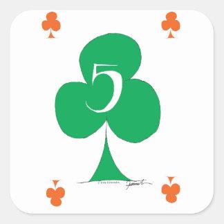 Pegatina Cuadrada Irlandés afortunado 5 de los clubs, fernandes tony