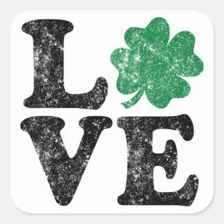 Pegatina Cuadrada Irlandés del trébol del AMOR del día de St Patrick