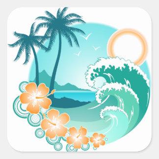 Pegatina Cuadrada Isla hawaiana 1