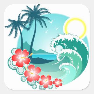 Pegatina Cuadrada Isla hawaiana 2