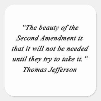 Pegatina Cuadrada Jefferson - segunda enmienda