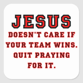 Pegatina Cuadrada Jesús: No un negro y un rojo de la fan de deportes