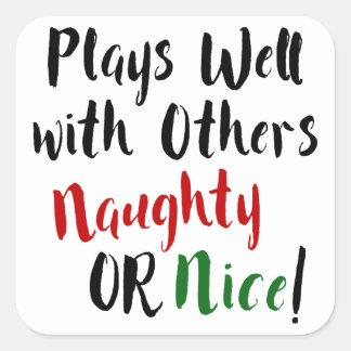 Pegatina Cuadrada ¡Juegos bien con otros traviesos O Niza! Navidad