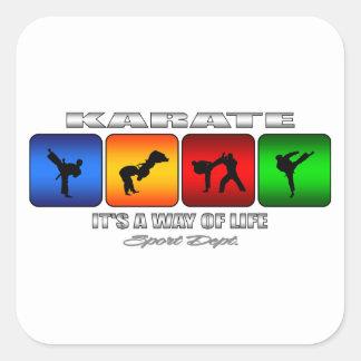 Pegatina Cuadrada Karate fresco es una manera de vida
