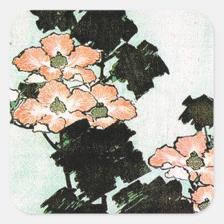 Pegatina Cuadrada Katsushika Hokusai (葛飾北斎) - hibisco y gorrión