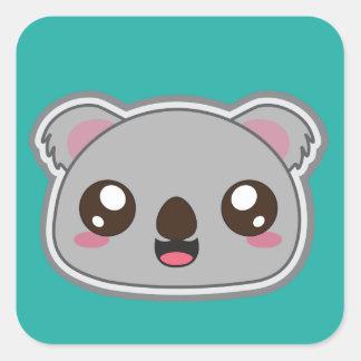 Pegatina Cuadrada Kawaii, la diversión y la koala divertida ajustan