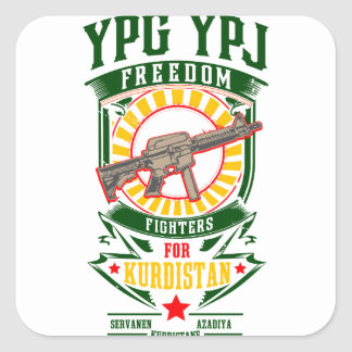 Pegatina Cuadrada KURDISTAN - YPG - guerrero de la libertad de YPJ