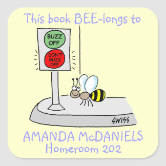 Pegatina Cuadrada La abeja linda del dibujo animado este libro