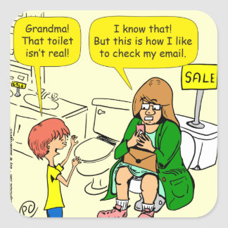 Pegatina Cuadrada La abuela 903 está comprobando el dibujo animado