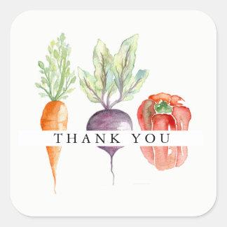 Pegatina Cuadrada La acuarela del remiendo del Veggie le agradece