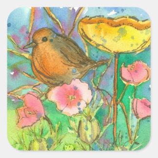 Pegatina Cuadrada La acuarela florece el pájaro del petirrojo
