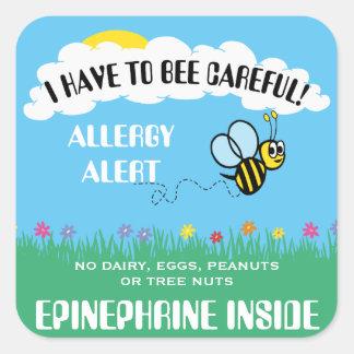 Pegatina Cuadrada La alarma múltiple de la alergia alimentaria