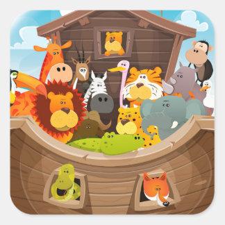 Pegatina Cuadrada La arca de Noah con los animales de la selva