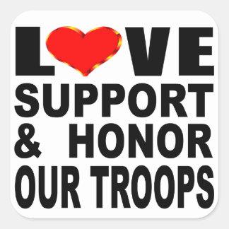 Pegatina Cuadrada La ayuda del amor y honra a nuestras tropas