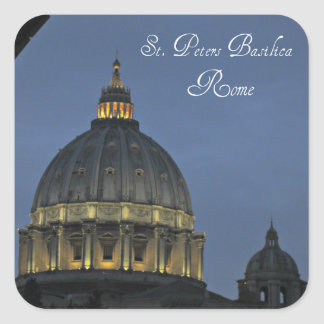 Pegatina Cuadrada La basílica de San Pedro, Roma, Italia
