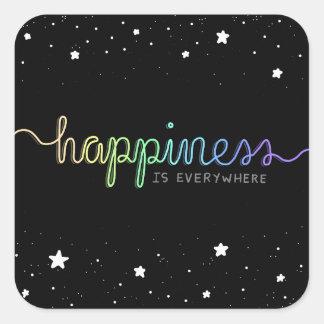 Pegatina Cuadrada La felicidad está por todas partes