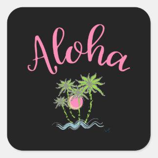 Pegatina Cuadrada La hawaiana vara el estilo hawaiano Summera
