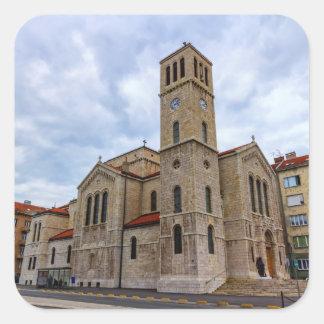 Pegatina Cuadrada La iglesia de San José en Sarajevo. Bosnia y Herz