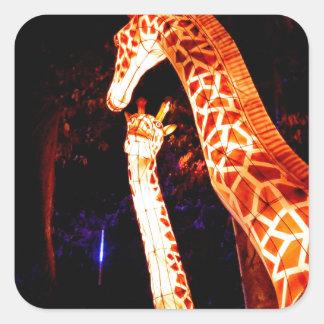 Pegatina Cuadrada La jirafa enciende para arriba arte del festival