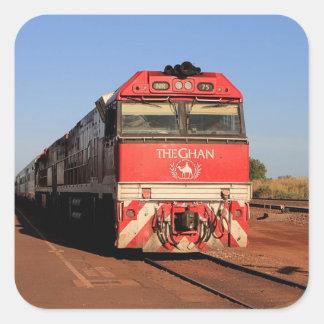 Pegatina Cuadrada La locomotora del tren de Ghan, Darwin