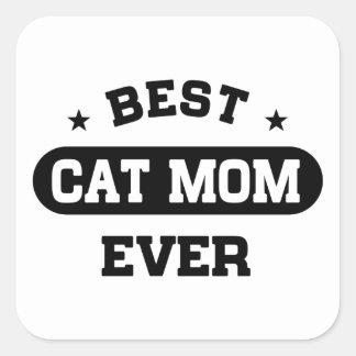 Pegatina Cuadrada La mejor mamá del gato nunca