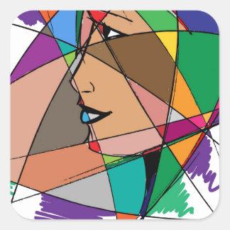 Pegatina Cuadrada La mujer abstracta de Stanley Mathis