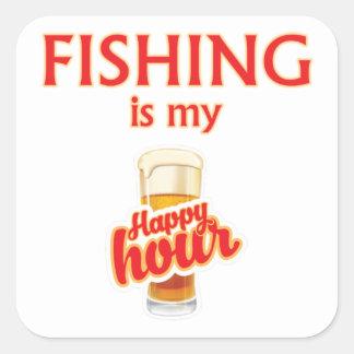 Pegatina Cuadrada La pesca es mi hora feliz