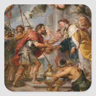 Pegatina Cuadrada La reunión de Abraham y del arte de Melchizedek
