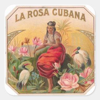Pegatina Cuadrada La Rosa Cubana Diseño Vintage Cuba