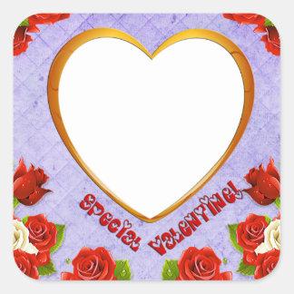 Pegatina Cuadrada La tarjeta del día de San Valentín, los rosas y el
