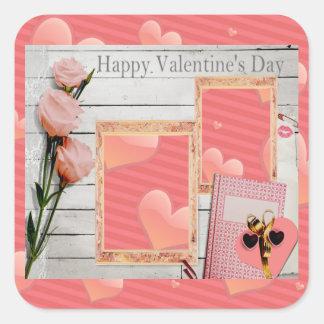 Pegatina Cuadrada La tarjeta del día de San Valentín, rosas rosados,