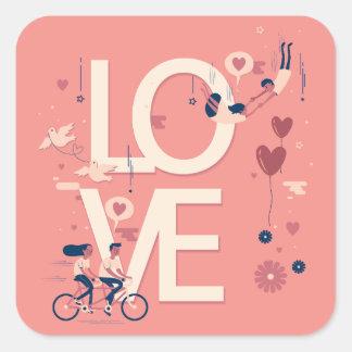 Pegatina Cuadrada La tarjeta del día de San Valentín simple con todo