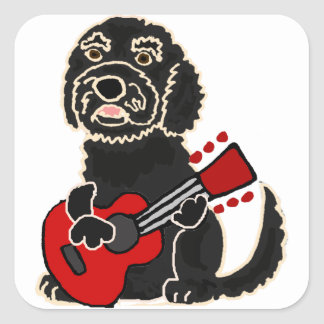 Pegatina Cuadrada Labradoodle divertido que toca la guitarra