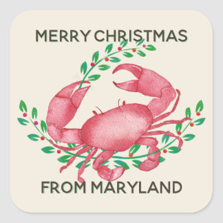 Pegatina Cuadrada Las Felices Navidad del cangrejo de Maryland
