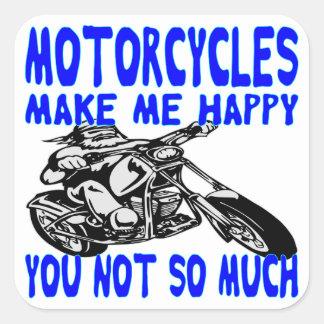 Pegatina Cuadrada Las motocicletas le hacen me feliz no tanto 2